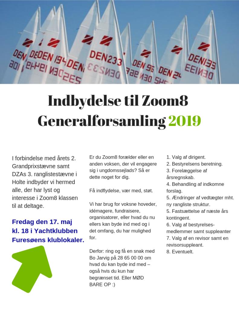 Indbydelse til Zoom8 Generalforsamling 2019 fredag den 17 maj